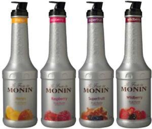 Monin 1 Liter Fruit Puree 33.8 oz (select flavor below)