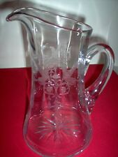 """Central Glass Harding Griffin Crystal 10.5"""" 75 oz. Pitcher - VERY RARE - MINT"""