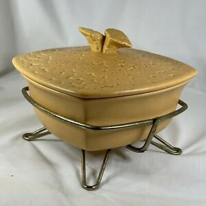 Vintage Miramar California Pottery Baling Dish Square with Lid & Stand 414