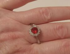 Zirconia Cluster Ring Size T&1/2 Sterling Silver Simulated Ruby & Cubic