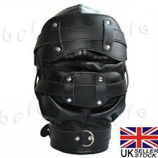 Black Lockable Bondage Hood Sensory Deprivation Mask Gag Blindfold Faux Leather