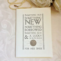 East of India Lucky old sixpence wedding card. Gorgeous traditional bridal gift