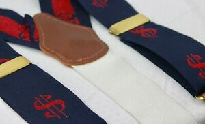 Dooney & Bourke VTG Blue Red Dollar Sign $ Money Silk Leather Suspenders Braces