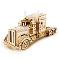 Heavy Truck 3D Laser-Cut Wooden Model Kit Big Rig Semi Lorry Artic DIY Puzzle