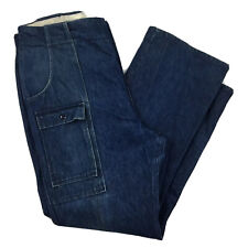 VTG 70s 80s Eddie Bauer Mens 38x33 Denim Bush Pants Talon 42 Zip Dark Wash USA