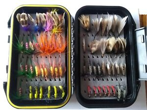 trout salmon fly fishing flies assortment box with 60 fly fishing flies