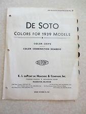 Original 1939 De Soto automobile paint colour chips bulletin - Du Pont USA