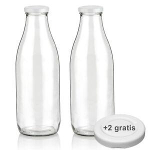 Milchflasche 1L Saftflasche 1000ml Glas Flasche leer mit Deckel BPA frei