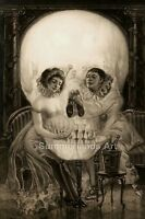 Salvador Dali Gothic Skull Surreal Illusion - FINE ART PRINT