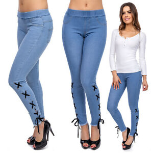 Women High Waisted Denim Imitation Leggings Full Length Jeans Look Pants FS1844