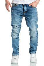Herren Dicke Nähte Destroyed Jeans Regular Slim Denim Hose Fit 7983BD