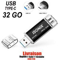 Clé USB 32 Go Type C ISONIX OTG USB Flash Drive pour Type C appareils Android/PC