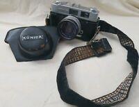 Konica Auto S2 35mm Film Camera 45mm 1:1.8 Hexanon Lens Case UNTESTED Vintage