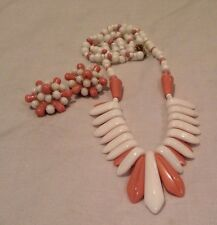 Art Deco White Milk Glass And Pink Glass Bibb Style Necklace And Clip On Earring