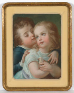 """Jean August Dubouloz (1800-1870) """"Little Brother and Sister"""", pastel, ca.1850"""