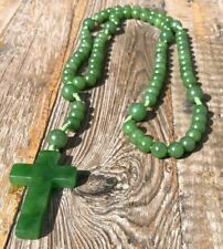 Genuine Nephrite Jade Rosary Beads Necklace with Cross Pendant