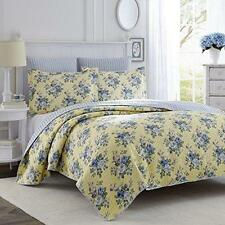 Laura Ashley Linley Reversible 3pc Full/ Queen-size Quilt Set Yellow Roses Blue
