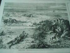 Gravure 1861 - Défense de Gaëte Embuscades Napolitaines dans trous de Loup