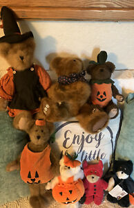 Lot Of 6 Boyds Bears Halloween Fall Pumpkin Witch Costume Large, Small, 1 TY