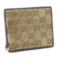Gucci bi-fold wallet GG pattern beige canvas �~ leather Auth used T16920