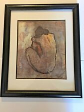 Picasso Blue Nude Print double matted black wood frame