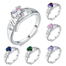Birthstone Heart Design CZ Rings White Gold Filled Mother's Day Gifts For Mom