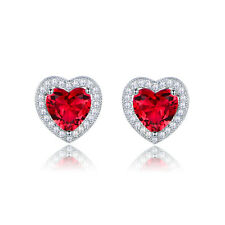 Charming Girls 18K White Gold Filled Ruby Sapphire Stud Earrings Journey Party