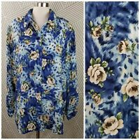 Plus Size 26 4X Top Abstract Floral Animal Print button up shirt top rose grunge