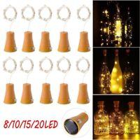 8/10/15/20LED Solar Wine Bottle Cork Shaped String Light Night Fairy Light Party