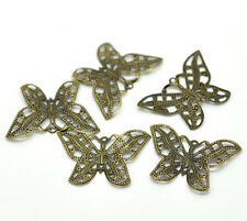 New 100PCs Bronze Filigree Butterfly Charm Pendants Findings 31x22mm
