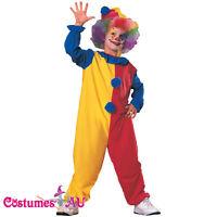 Kids Clown Jester Children Circus Costume Boys Girls Book Week Child Fancy Dress