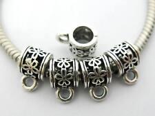 New Item! 30 pc Pretty Flowers Tibetan Silver Bail Beads For European Jewelry US