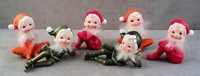 6 Vtg Inarco Christmas Elves Pixies Bearded Orange Red Green Santa Suits Perfect