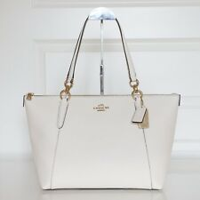 New Coach F57526 Crossgrain Ava Zip Tote Handbag in Chalk