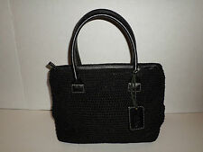 THE SAK BLACK CROCHET WOVEN HANDBAG WITH NICE LEATHER HANDLES SUPER CUTE