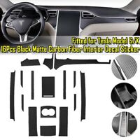 Matte Black Carbon Fiber Center Console Wrap Vinyl Sticker For Tesla Model X/S