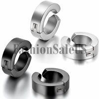 Men's Women's Polished Stainless Steel Non-Piercing Clip-on Hoop Huggie Earrings