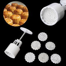 Moon Cake Mould Mold Hand Pressure Flower Motif Pastry 50g Round+6 Stamps Well