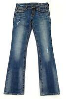 MISS ME Denim Women's Rhinestone Distressed Stretch Boot Cut Jeans Size 28 x 34
