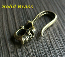 Solid Brass Vintage Skull Fob Belt Clip Buckle Hook Men's Key Chain Ring Holder