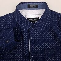 Eighty Eight Men's Button Up Shirt Size Large Cotton Snowflakes Blue
