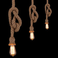 1M Pendant light Fittings Hemp Rope Ceiling lamp Loft Vintage Chandelier E27 LCJ