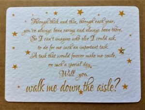 WILL YOU BE MY Walk me down the Aisle/Chief Bridesmaid/Witness card/invite -STAR