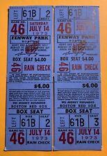 2 July 14, 1973 Boston Red Sox & Texas Rangers Full Tickets Yaz Triple