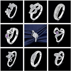 New 925 Sterling Silver Filled Solid Ring Men/Womens Wedding Engagement Rings