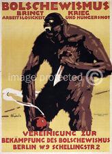 Vintage WW1 German Poster Bolschevism Brings War  18x24