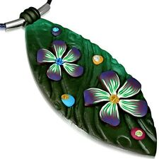 Fashion Fimo Polymer Clay Flower Long Oval Flower Charm with Necklace FPA209