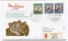 FFC 1968 Swissair Special Flight Zurich Geneve Nairobi REGISTERED Sudafrika
