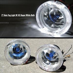 "For Miata 3"" Round Super White Halo Bumper Driving Fog Light Lamp Compl Kit"
