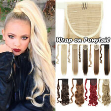 """17-32"""" Wrap Clip In Ponytail As Human Thick Hair Extension Straight Wavy US"""